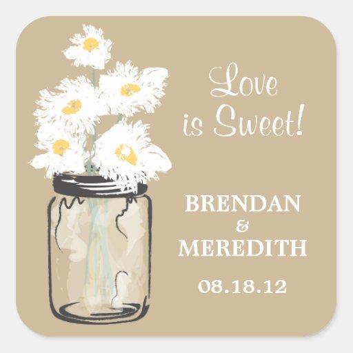 Mason Jar and White Daisies Wedding Sticker