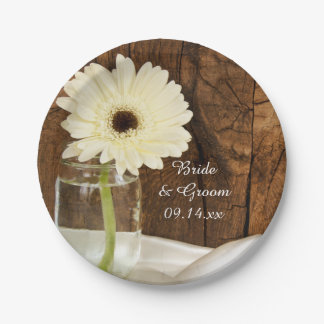 Mason Jar and White Daisy Country Barn Wedding Paper Plate