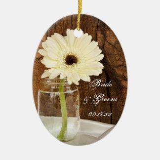 Mason Jar and White Daisy Country Wedding Ceramic Oval Decoration