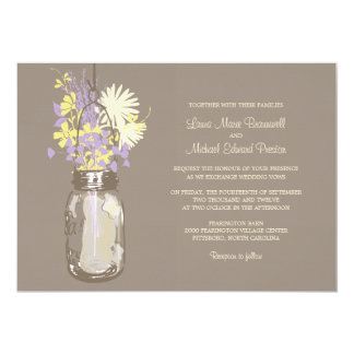 Mason Jar and Wildflowers Wedding Invitations