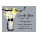 Mason Jar and Wildflowers Wedding Invitations Postcards