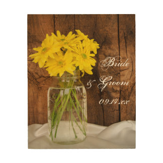 Mason Jar and Yellow Daisies Country Barn Wedding Wood Wall Art
