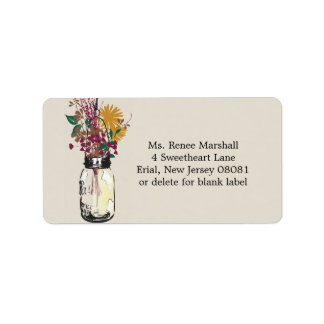 Mason Jar & Autumn Wildflowers Label