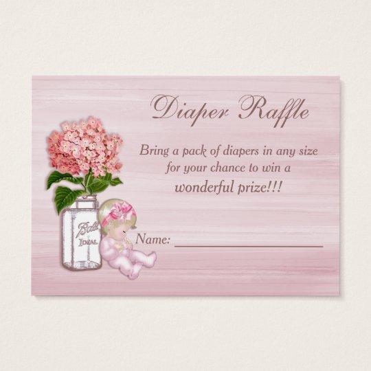Mason Jar, Baby Girl, Pink Hydrangea Diaper Raffle