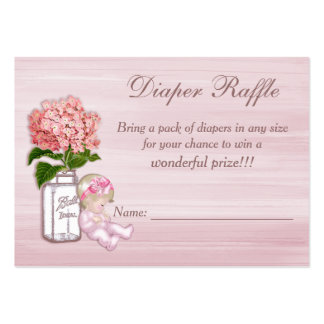 Mason Jar, Baby Girl, Pink Hydrangea Diaper Raffle Pack Of Chubby Business Cards