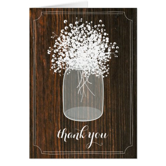 Mason Jar Baby's Breath Barn Wood Thank You Card