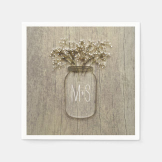 Mason Jar Baby's Breath Rustic Wedding Disposable Napkins