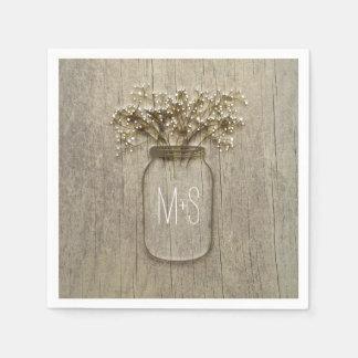Mason Jar Baby's Breath Rustic Wedding Disposable Serviette