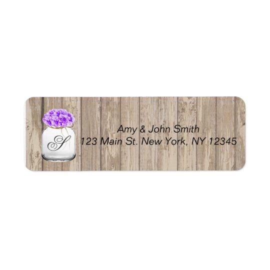 Mason jar barn wood wedding address labels hyd3