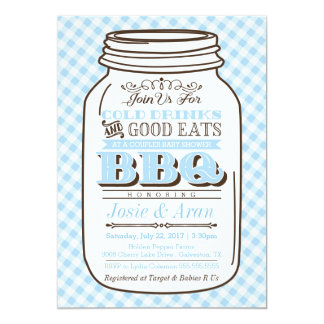 Mason Jar BBQ Invitation, Couples Baby Shower Boy Card