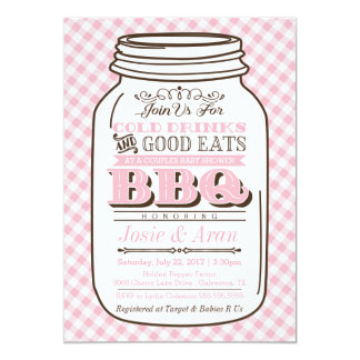 Mason Jar BBQ Invitation, Couples Baby Shower Girl Card