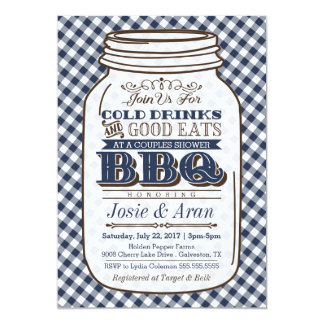 Mason Jar BBQ Invitation, Couples Shower Navy Blue Card