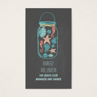 Mason Jar Beach Nautical Coastal Underwater Business Card