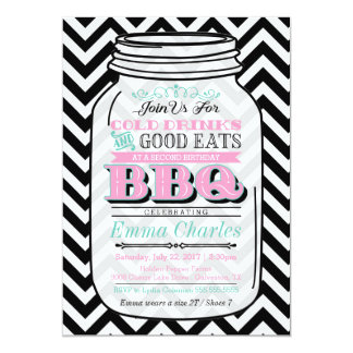 Mason Jar Birthday BBQ Invitation, Child or Adult Card