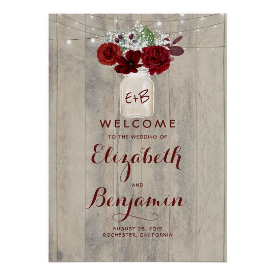 Mason Jar Burgundy Floral Wedding Welcome Sign