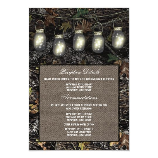 Mason Jar Camo Wedding Reception Enclosure Cards