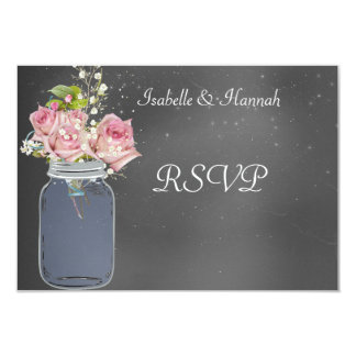 "Mason Jar, Chalkboard, Lesbian Wedding RSVP Card 3.5"" X 5"" Invitation Card"