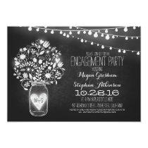 mason jar chalkboard & lights engagement party 5x7 paper invitation card