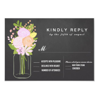 Mason Jar Chalkboard RSVP  Wedding 9 Cm X 13 Cm Invitation Card