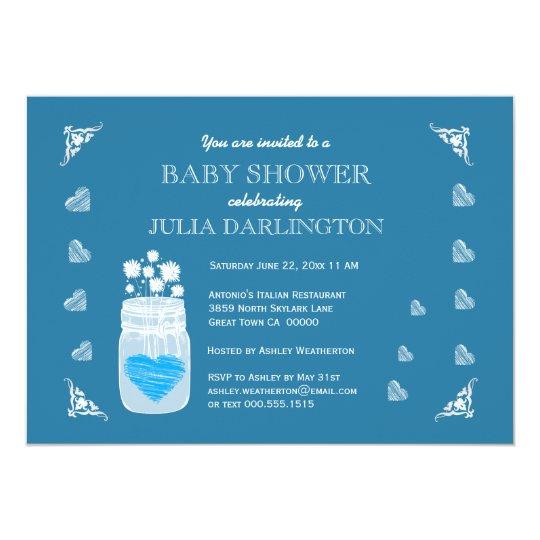 Mason Jar Chalkboard Rustic Baby Shower A01F Card