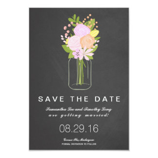 Mason Jar Chalkboard Save The Date | Wedding 9 Cm X 13 Cm Invitation Card