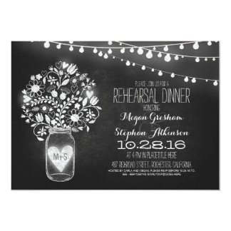 mason jar chalkboard string light rehearsal dinner card