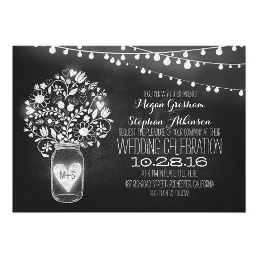 mason jar chalkboard string lights wedding invites cards