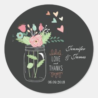 Mason jar charcoal wedding sticker favours seals