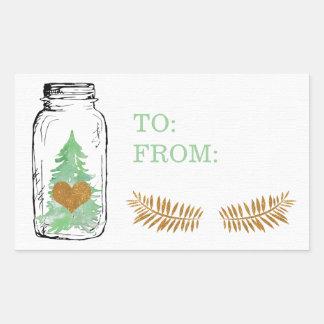 Mason Jar Christmas Tree Gift Label Sticker