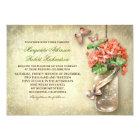 mason jar & coral flowers rustic wedding invites