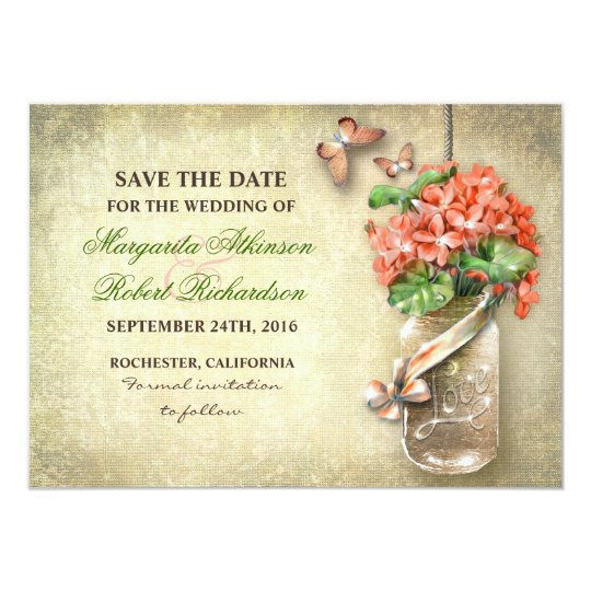mason jar & coral flowers save the date