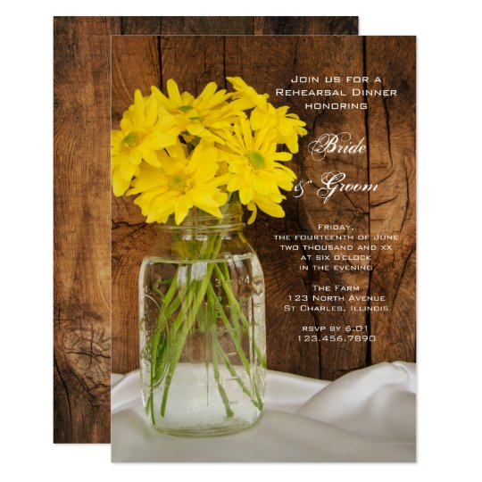 Mason Jar Daisies Country Wedding Rehearsal Dinner Card