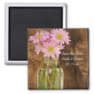 Mason Jar Daisies Country Wedding Save the Date Fridge Magnets