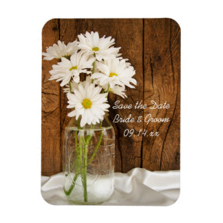 Mason Jar Daisies Country Wedding Save the Date Flexible Magnet