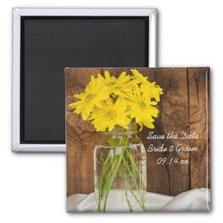 Mason Jar Daisies Country Wedding Save the Date Square Magnet