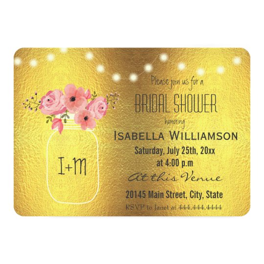 Mason Jar Faux Gold Foil and Lights Bridal Shower Card