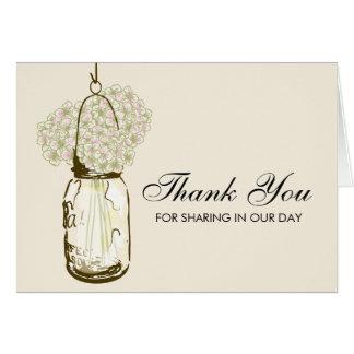 Mason Jar filled with Hydrangea Flowers Card