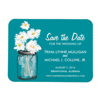Mason Jar filled with White Daisies Save the Date Rectangular Magnets