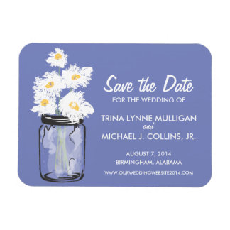 Mason Jar filled with White Daisies Save the Date Rectangular Photo Magnet