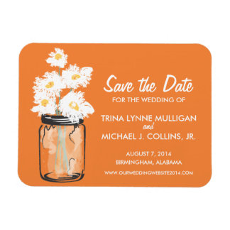 Mason Jar filled with White Daisies Save the Date Magnet