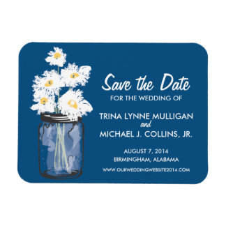 Mason Jar filled with White Daisies Save the Date Rectangle Magnet