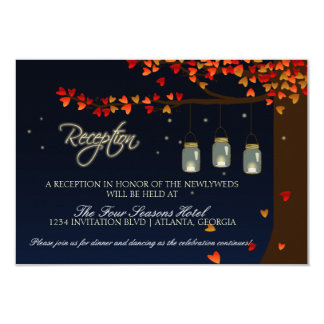 Mason Jar Fireflies Oak Tree Reception 9 Cm X 13 Cm Invitation Card
