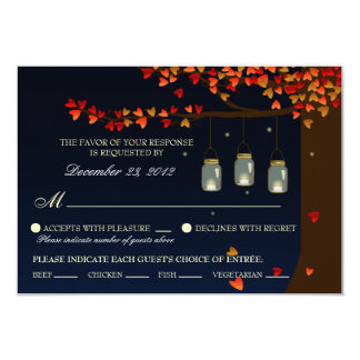 Mason Jar Fireflies Oak Tree RSVP (Meal Options) 9 Cm X 13 Cm Invitation Card