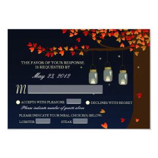 Mason Jar Fireflies Oak Tree RSVP [Meal Options] 9 Cm X 13 Cm Invitation Card
