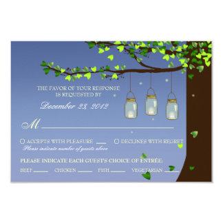 Mason Jar Fireflies Oak Tree RSVP (Meal Options) Card