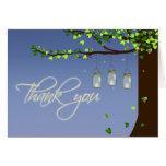 Mason Jar Fireflies Oak Tree Thank You Card