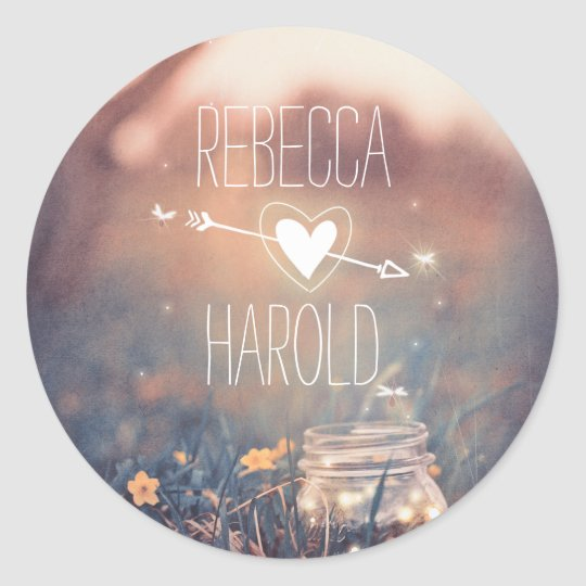 Mason Jar Fireflies Rustic Wedding Classic Round Sticker
