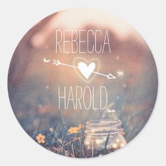 Mason Jar Fireflies Rustic Wedding Round Sticker