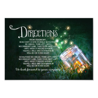 mason jar fireflies wedding directions card