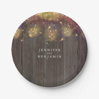 Mason Jar Firefly Lights Rustic Wedding Paper Plate